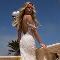 Moonlight H1377, fitted lace wedding dress, blush wedding dress