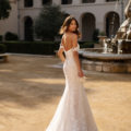 Moonlight J6750, lace fitted wedding dress, blush wedding dress, fitted wedding dress, bardot wedding dress, moonlight bridal wedding dress