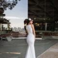 Pronovias Kelly, wedding dress, fitted crepe wedding dress