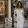 Pronovias Winters, wedding dress, fitted wedding dress, crepe wedding dress, long sleeve wedding dress