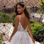 Moonlight Couture H1394, a-line wedding dress, blush wedding dress