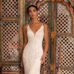 Moonlight H1396, lace fitted wedding dress, champagne wedding dress