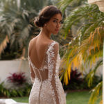 Moonlight J6746, lace fitted wedding dress, wedding dress with sleeves, champagne wedding dress