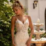 Moonlight J6780, fitted glitter and lace wedding dress, glitter tulle wedding dress, champagne wedding dress