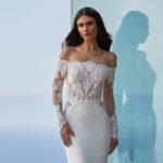Pronovias Della, wedding dress, fitted wedding dress, crepe and lace wedding dress, bardot wedding dress, long sleeved wedding dress