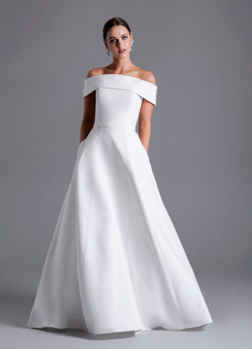 Caroline Castigliano Kaia, crepe wedding dress, elegant wedding dress, wedding dress, wedding dresses, wedding gowns, a-line wedding dress, princess wedding dress, plain wedding dress, luxury wedding dress