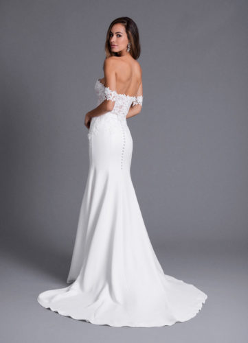Caroline Castigliano Rosalee, fitted wedding dress, crepe wedding dress, romantic wedding dress, structured wedding dress, british wedding dress, luxury wedding dress, designer wedding dress, off the shoulder wedding dress