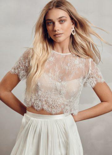 Catherine Deane Gracie, bridal separates, bridal two piece, catherine deane boho, boho bride, boho top, bridal top, bridal lace top