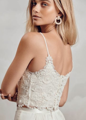 Catherine Deane Sita Top, bridal separates, bridal two piece, boho bridal separates, boho bridal top, bridal top, lace bridal top
