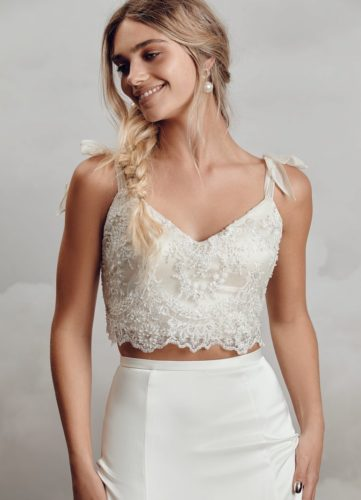 Catherine Deane Michelle Top, bridal separates, bridal two piece, modern bride, boho bride, relaxed bride