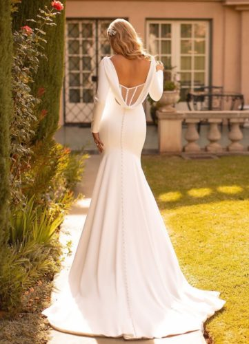 Moonlight Collection J6791, wedding dress, sexy wedding dress, fitted wedding dress, plain wedding dress, crepe wedding dress, winter wedding dress, long sleeve wedding dress, moonlight bridal wedding dress