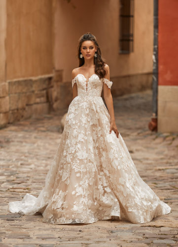 Moonlight Collection J6818, romantic wedding dress, wedding dress, sexy wedding dress, princess wedding dress, lace wedding dress, moonlight bridal wedding dress