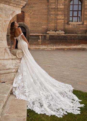 Moonlight Couture H1466, wedding dress, sexy wedding dress, fitted wedding dress, lace wedding dress, moonlight bridal wedding dress