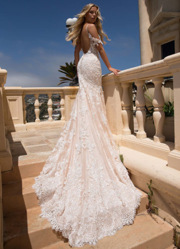 Moonlight H1377, fitted lace wedding dress, blush wedding dress, moonlight bridal wedding dress, sale wedding dress, discount wedding dress, sample sale