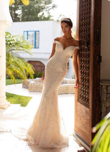 Moonlight H1391, lace wedding dress, bardot wedding dress, off the shoulder wedding dress, fitted wedding dress, moonlight bridal wedding dress