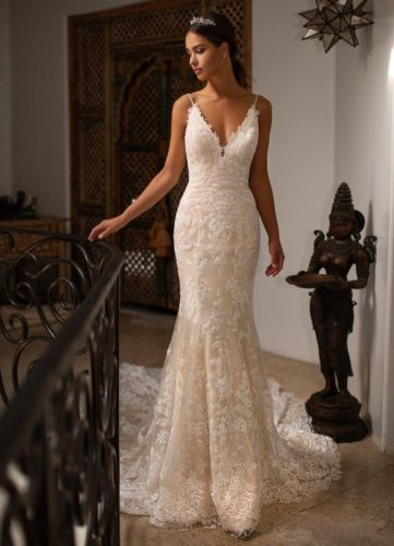 Moonlight H1396, lace fitted wedding dress, champagne wedding dress, moonlight bridal wedding dress, sample sale wedding dress, discount wedding dress