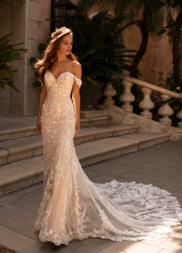 Moonlight H1430, lace fitted wedding dress, bardot wedding dress, blush wedding dress, fitted wedding dress, long wedding dress train, moonlight bridal wedding dress