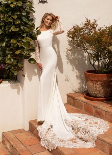 Moonlight J6774, fitted crepe wedding dress, cut out train wedding dress, plain wedding dress, moonlight bridal wedding dress