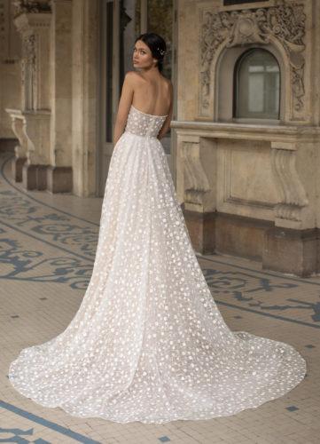 Pronovias Hopkins, wedding dress, a-line wedding dress, glitter wedding dress