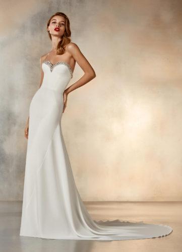 Pronovias Rising, wedding dress, crepe wedding dress, a-line wedding dress