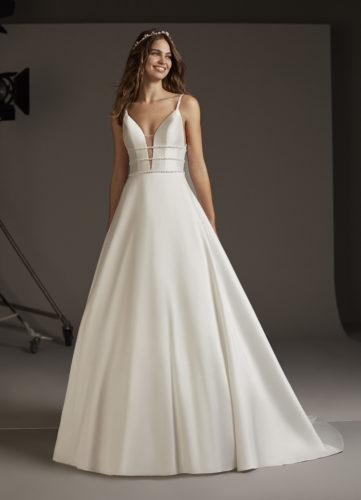 Pronovias Serpens, wedding dress, a-line wedding dress, mikado wedding dress