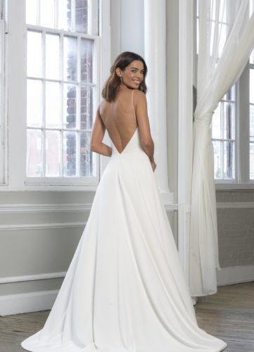 Theia Ally, wedding dress, plain wedding dress, a-line wedding dress, wedding dress with pockets