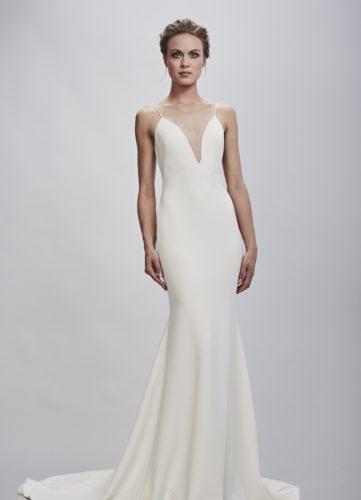 Theia Bruna, wedding dress, fitted wedding dress, plain wedding dress, crepe wedding dress