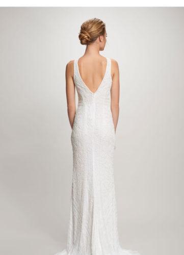 Theia Charlotte, Wedding Dress, black tie wedding dress, beaded wedding dress, straight wedding dress, bateau wedding dress