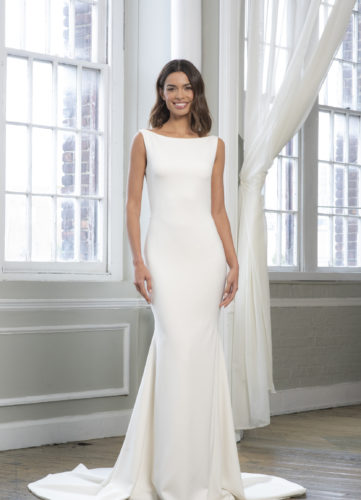 Theia Farrah, wedding dress, plain crepe wedding dress, fitted wedding dress, bateau wedding dress