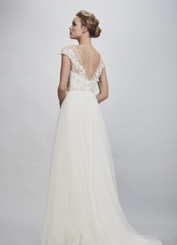 Theia Rosetta, wedding dress, a-line wedding dress, tulle skirt, modern wedding dress, beaded wedding dress
