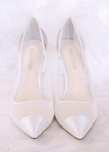 Bella Belle Shoes Maggie, Wedding shoes, comfortable wedding shoes, pretty wedding shoes, pretty shoes, ivory wedding shoes, polka dot wedding shoes, closed toe wedding shoes, low heel wedding shoes