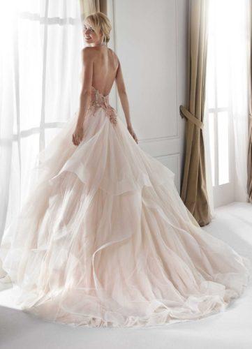 Nicole Milano Nia20321, nicole wedding dress, pink wedding dress, blush pink wedding dress, princess wedding dress, tulle wedding dress, discount wedding dress, sample sale, sale wedding dress