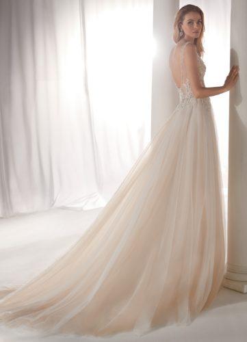 Nicole Milano NIAB19079, wedding dress, blush wedding dress, a-line wedding dress, glitter wedding dress, discount wedding dress, sample sale, wedding dress sale, sale wedding dress, cheap designer wedding dress