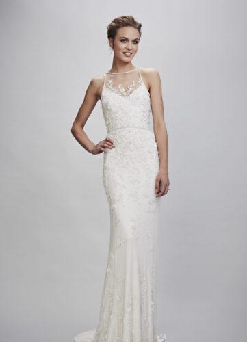 Theia Rachele, wedding dress, beaded wedding dress, summer wedding dress, low back wedding dress, fitted wedding dress