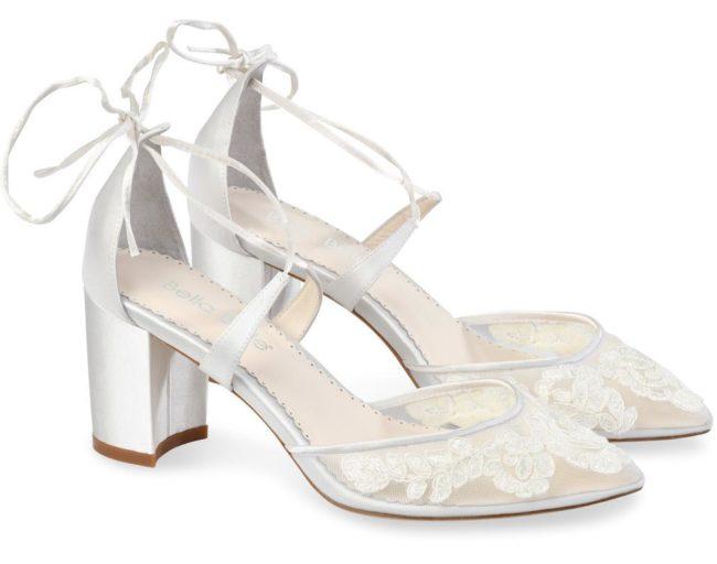 Bella Belle Shoes Abigail, wedding shoes, block heel wedding shoes, lace wedding shoes, ivory wedding shoes, comfortable wedding shoes