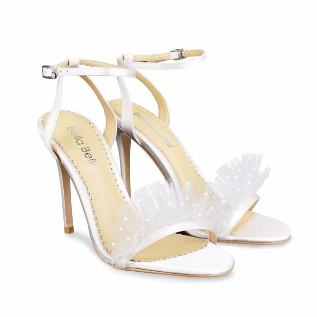 Bella Belle Shoes Bridget, wedding shoes, ivory wedding shoes, polka dot wedding shoes, high heel wedding shoes, strappy wedding shoes, pretty wedding shoes, comfortable wedding shoes