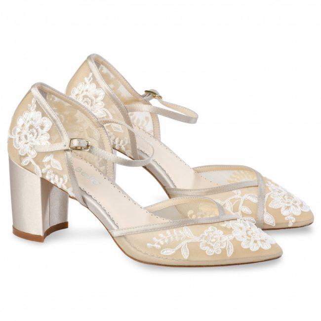 Bella Belle Shoes Chelsea, wedding shoes, block heel wedding shoes, wedding shoes block heel, nude wedding shoes, lace wedding shoes, comfortable wedding shoes, pretty wedding shoes