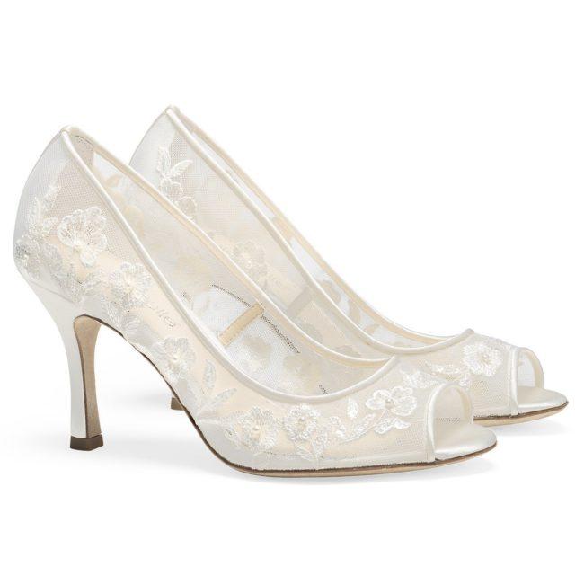 Bella Belle Shoes Emily, wedding shoes, peep toe wedding shoes, lace wedding shoes, pretty wedding shoes, ivory wedding shoes, comfortable wedding shoes