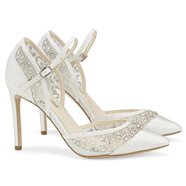 Bella Belle Shoes Emma, Wedding shoes, comfortable wedding shoes, pretty wedding shoes, pretty shoes, ivory wedding shoes, beaded wedding shoes, closed toe wedding shoes, high heel wedding shoes