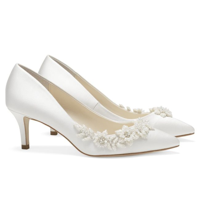 Bella Belle Shoes Iris, Wedding shoes, comfortable wedding shoes, pretty wedding shoes, pretty shoes, ivory wedding shoes, satin wedding shoes, low heel wedding shoes, kitten heels, kitten heel wedding shoes