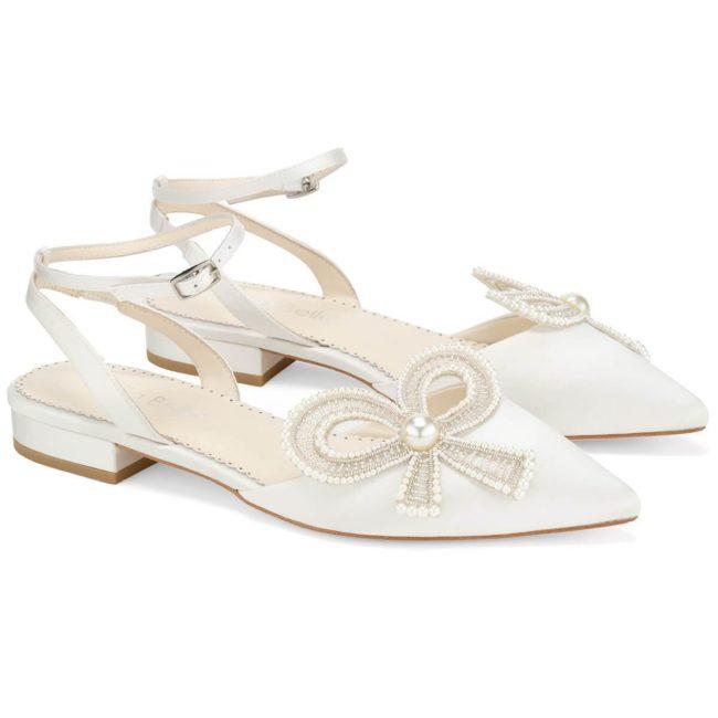 Bella Belle Shoes Kendra, wedding shoes, ivory wedding shoes, beautiful wedding shoes, modern wedding shoes, designer wedding shoes, flat wedding shoes