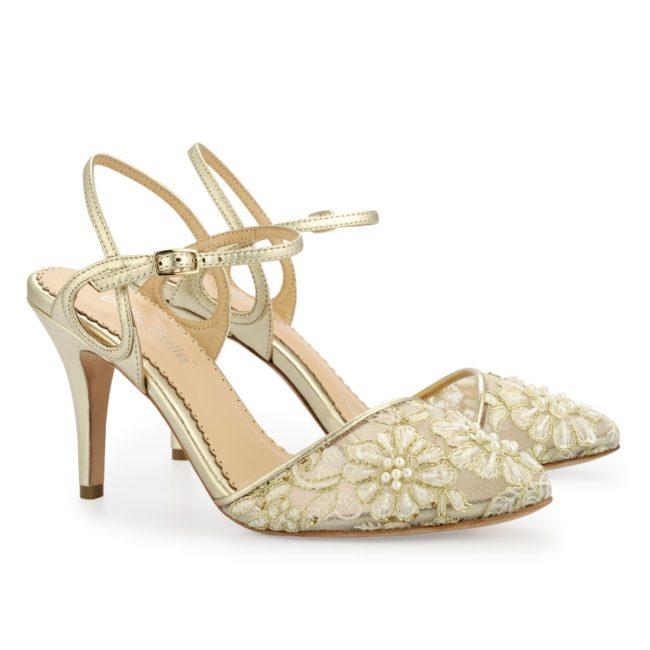 Bella Belle Shoes Madeline, Wedding shoes, comfortable wedding shoes, pretty wedding shoes, pretty shoes, gold wedding shoes, lace wedding shoes, evening shoes, gold shoes, occasion shoes