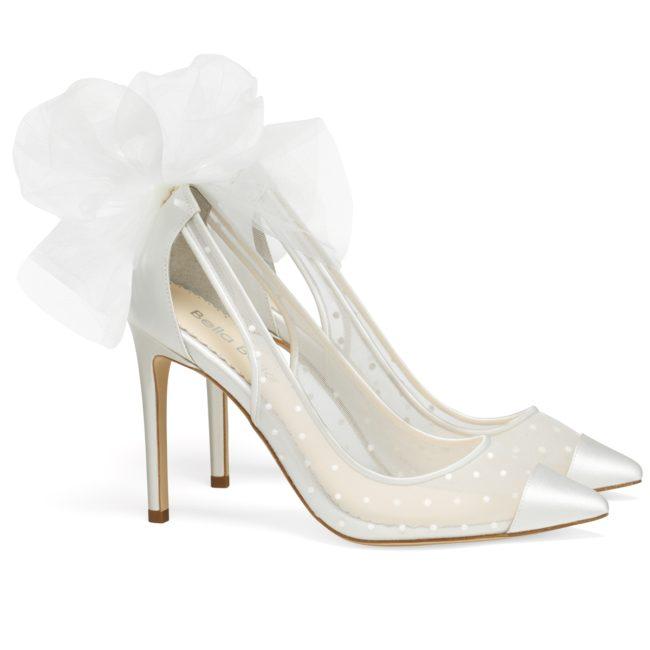 Bella Belle Shoes Matilda, Wedding shoes, comfortable wedding shoes, pretty wedding shoes, pretty shoes, ivory wedding shoes, high heel wedding shoes, polka dot wedding shoes, closed toe wedding shoes