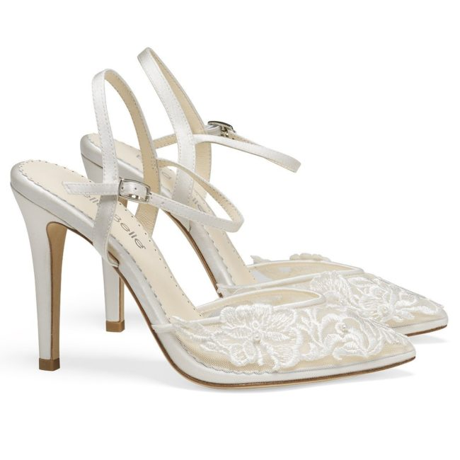 Bella Belle Shoes Maya, Wedding shoes, comfortable wedding shoes, pretty wedding shoes, pretty shoes, ivory wedding shoes, lace wedding shoes, modern wedding shoes, high heels, high heel wedding shoes