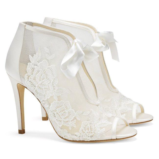 Bella Belle Shoes Nikki, Wedding shoes, comfortable wedding shoes, pretty wedding shoes, pretty shoes, ivory wedding shoes, lace booties, wedding booties, wedding boots, lace wedding boots, high heel wedding shoes