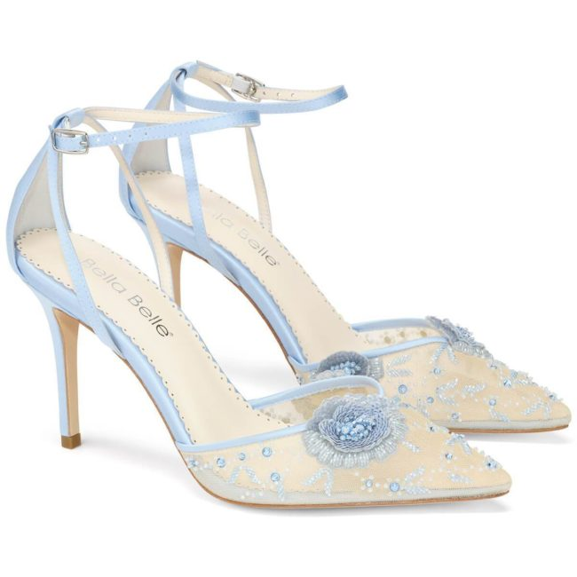 Bella Belle Shoes Norah Blue, wedding shoes, blue wedding shoes, beautiful wedding shoes, modern wedding shoes, designer wedding shoes, lace wedding shoes