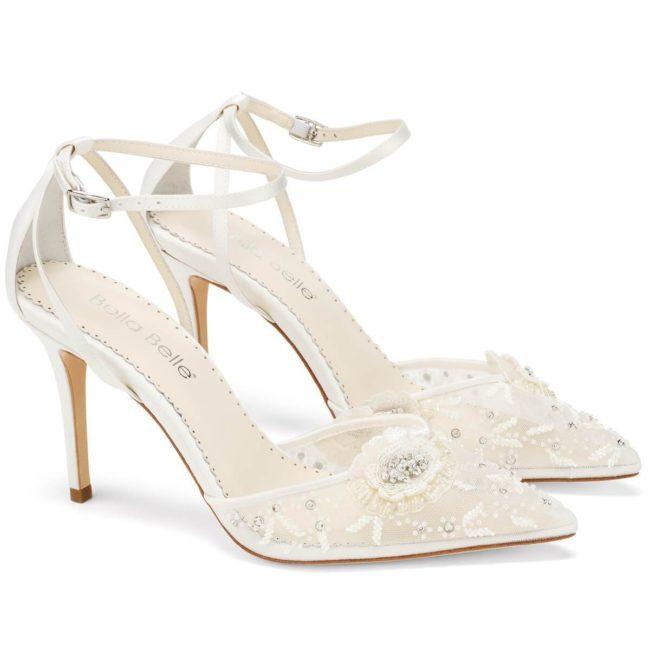 Bella Belle Shoes Norah Ivory, wedding shoes, ivory wedding shoes, beautiful wedding shoes, modern wedding shoes, designer wedding shoes, lace wedding shoes