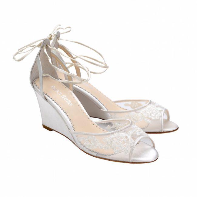 Bella Belle Shoes Pamela, Wedding shoes, comfortable wedding shoes, pretty wedding shoes, pretty shoes, ivory wedding shoes, wedding wedge shoes, lace wedding shoes