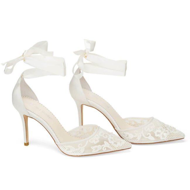 Bella Belle Shoes Penelope, wedding shoes, ivory wedding shoes, beautiful wedding shoes, modern wedding shoes, designer wedding shoes, lace wedding shoes