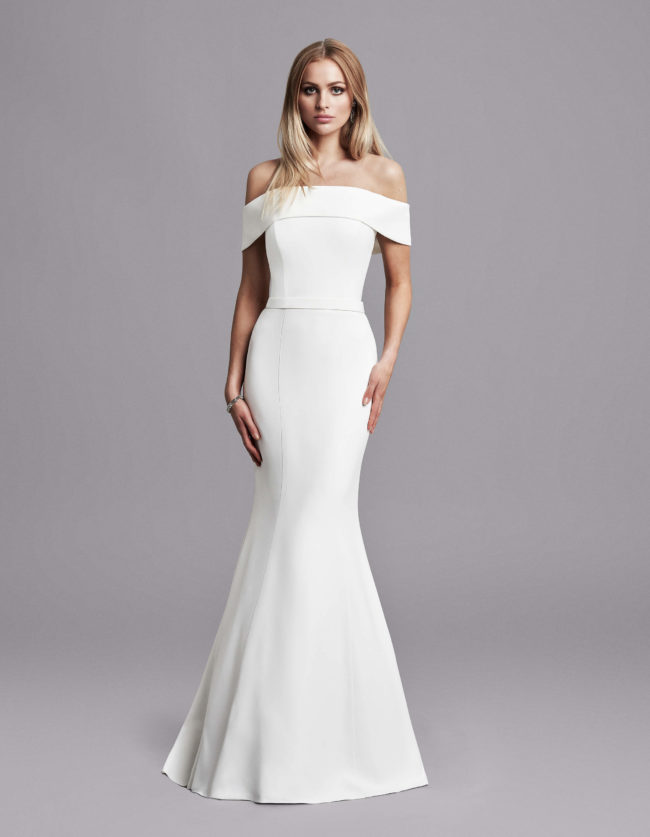 Caroline Castigliano Jourdan, Wedding Dress, crepe wedding dress, fitted wedding dress, fishtail wedding dress, bardot wedding dress